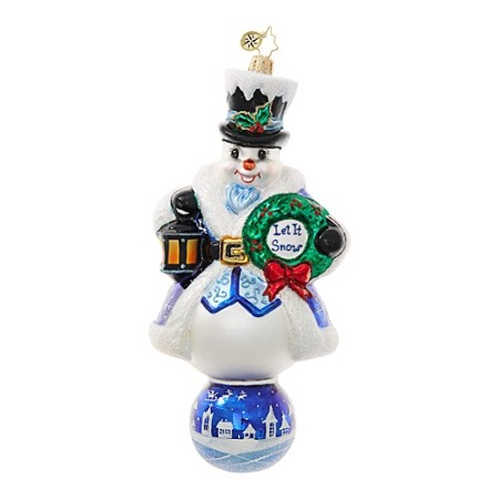 RADKO 1018706 LET IT SNOW - LIMITED EDITION - JEWELED SNOWMAN WITH LANTERN AND WREATH ON BALL ORNAMENT - NEW 2017 - PRE-SALE - AVAILABLE JUNE  (17-2)