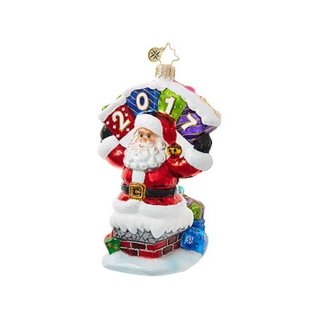 RADKO 1018707 HE CAME WITH A BOUND - DATED 2017 - SANTA IN CHIMNEY ORNAMENT - NEW 2017 (17-2)