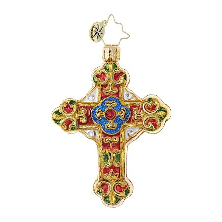 RADKO 1018739 BAROQUE BLESSINGS GEM - JEWELED CROSS ORNAMENT - NEW 2017 (25)