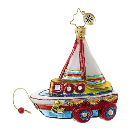 RADKO 1018753 JUST ADD WATER GEM - CHILDREN'S BOAT PULL TOY ORNAMENT - NEW 2017 (25)