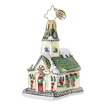 RADKO 1018754 KEEPING THE FAITH GEM - GREEN ROOF CHURCH ORNAMENT - NEW 2017 (25)