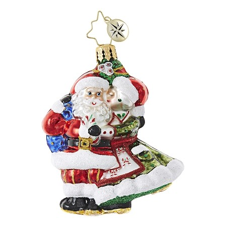 RADKO 1018759 MR & MRS MISTLETOE GEM - MRS CLAUS KISSING SANTA  ORNAMENT - NEW 2017 (25-1)