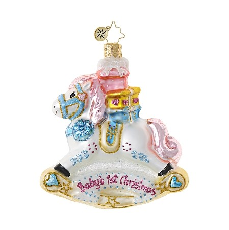 RADKO 1018765 ROCKIN' NEWBORN GEM - BABY'S 1ST CHRISTMAS - NOT DATED - ROCKING HORSE ORNAMENT - NEW 2017 (25-1)