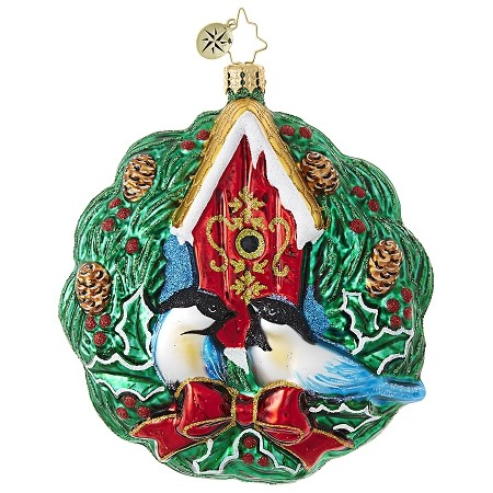 RADKO 1018802 EVERGREEN RING - BIRDS AND BIRD HOUSE IN WREATH ORNAMENT - NEW 2017 (17-9)