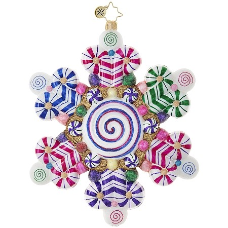 RADKO 1018803 CANDY SHOP SNOWFLAKE - LARGE SNOWFLAKE WITH CANDY CANES ORNAMENT - NEW 2017 (17-9)