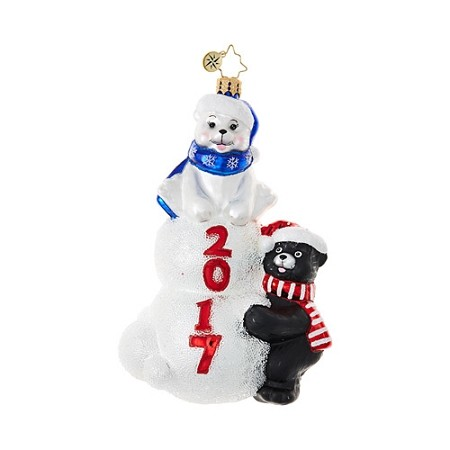 RADKO 1018805 BEARY GOOD TIME - DATED 2017 - POLAR BEAR AND BLACK BEAR ORNAMENT - NEW 2017 (17-2)