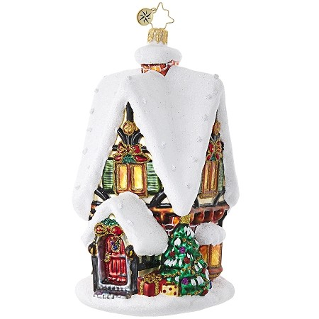 RADKO 1018807 FROSTY CHRISTMAS COTTAGE - SNOW COVERED HOUSE ORNAMENT - NEW 2017 (17-9)