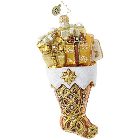 RADKO 1018808 GOLDEN GIFT STOCKING - JEWELED GOLD STOCKING WITH GIFTS ORNAMENT - NEW 2017 (17-9)