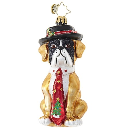 RADKO 1018827 HEY HAT DOG - BULLDOG WITH HAT AND TIE ORNAMENT - NEW 2017 (17-10)