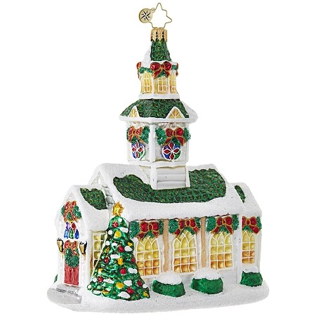 RADKO 1018846 SILVER STEEPLE - RELIGIOUS - SNOW COVERED GREEN ROOF CHURCH ORNAMENT - NEW 2017 (17-10)