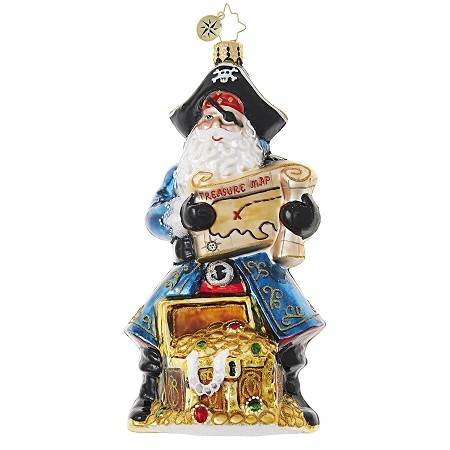 RADKO 1018850 SANTA'S GOT BOOTY - SUMMER - PIRATE SANTA WITH TREASURE CHEST OF LOOT ORNAMENT - NEW 2017 (17-10)