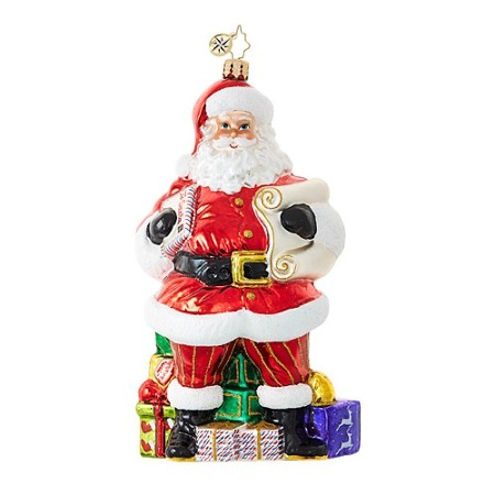 RADKO 1018855 CHECKING IT TWICE - DESIGNER'S CHOICE ORNAMENT - SANTA WITH LIST AND GIFTS ORNAMENT - NEW 2017 (17-1)