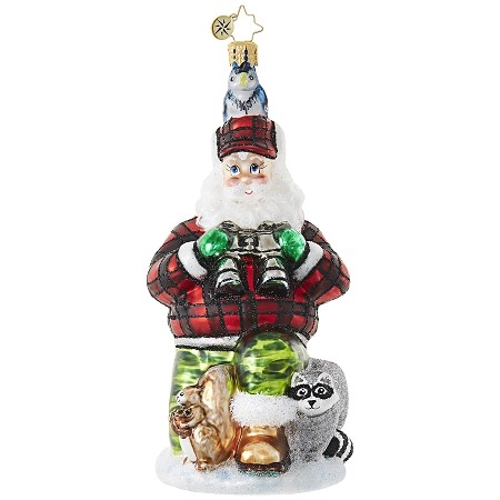 RADKO 1018868 CAMOUFLAGE KRINGLE - HUNTER SANTA WITH RACCOON AND SQUIRREL ORNAMENT - NEW 2017 (17-11)