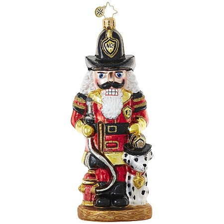RADKO 1018872 WHERE'S THE FIRE? - FIREMAN NUTCRACKER WITH DALMATIAN ORNAMENT - NEW 2017 (17-11)