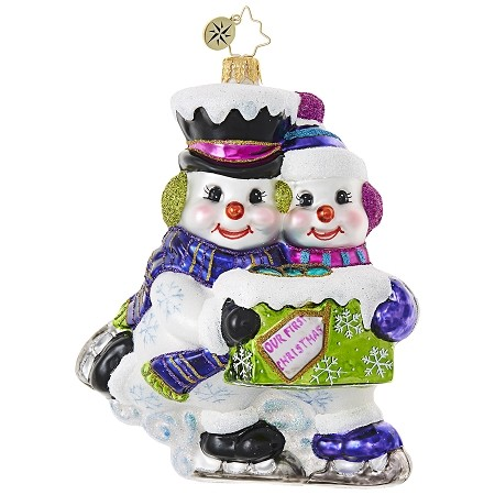 RADKO 1018873 SKATING SNOW COUPLE - OUR FIRST CHRISTMAS - NOT DATED - SNOWMAN AND SNOW GIRL ORNAMENT - NEW 2017 (17-11)