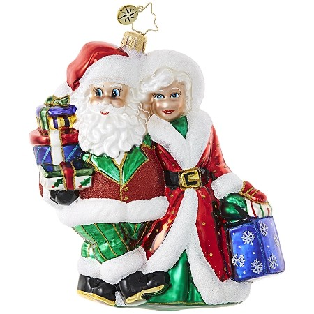 RADKO 1018876 OUT SHOPPING - SANTA AND MRS CLAUS SHOPPING ORNAMENT - NEW 2017 (17-11)