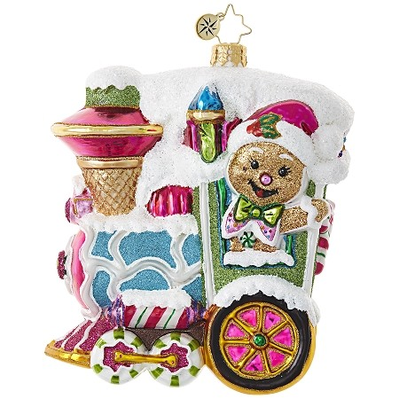 RADKO 1018877 GINGERBREAD EXPRESS - GINGERBREAD MAN DRIVING GINGERBREAD TRAIN ORNAMENT - NEW 2017 (17-11)
