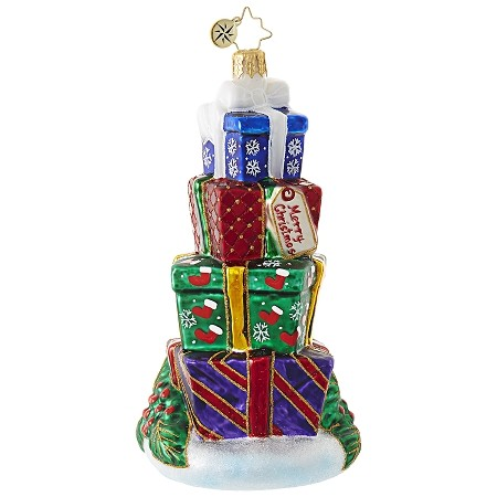 RADKO 1018887 TOWER OF TREASURES - STACK OF PRESENTS ORNAMENT - NEW 2017 (17-11)