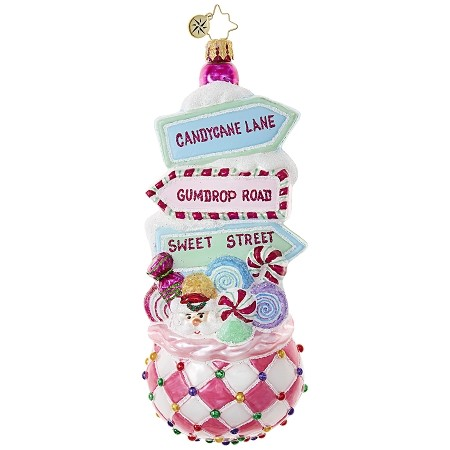 RADKO 1018894 SWEET STREET TREAT - BAG OF CANDY WITH STREET SIGNS ORNAMENT - NEW 2017 (17-12)