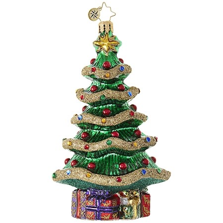 RADKO 1018902 GARLAND CHRISTMAS TREE - TREE WITH BASE OF GIFTS ORNAMENT - NEW 2017 (17-12)