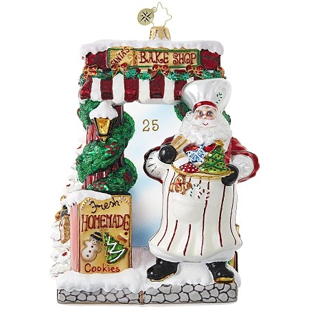 RADKO 1018905 SANTA BAKERY - BAKING SANTA WITH COOKIE DECORATED TREE ORNAMENT - NEW 2017 (17-12)