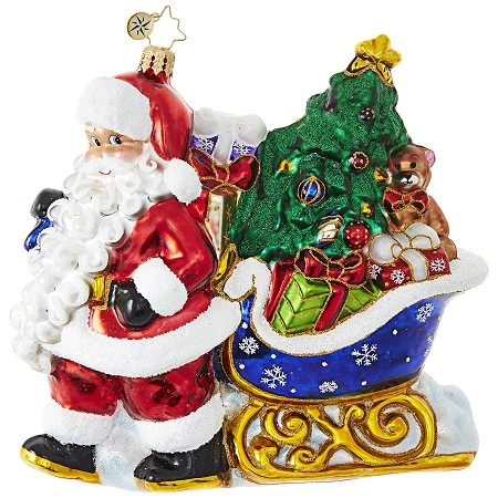RADKO 1018907 LUGE FULL OF GIFTS - SANTA PULLING SLEIGH WITH TREE AND GIFTS ORNAMENT - NEW 2017 (17-12)