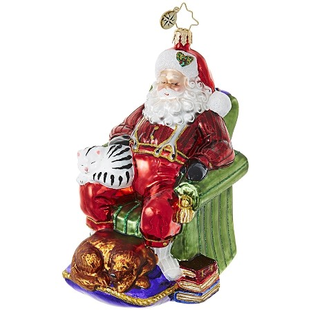 RADKO 1018908 SNOOZING SANTA - SANTA NAPPING IN CHAIR WITH DOG AND CAT ORNAMENT - NEW 2017 (17-12)