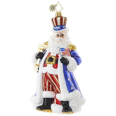 RADKO 1018924 UNCLE SANTA WANTS YOU! - PATRIOTIC SANTA ORNAMENT - NEW 2017 (17-13)