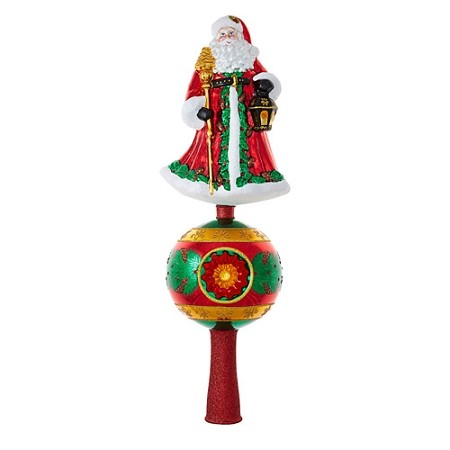 RADKO 1018925 FATHER CHRISTMAS FINIAL - SANTA WITH STAFF AND LANTERN ON BALL WITH REFLECTOR FINIAL - NEW 2017 - (FIN8)
