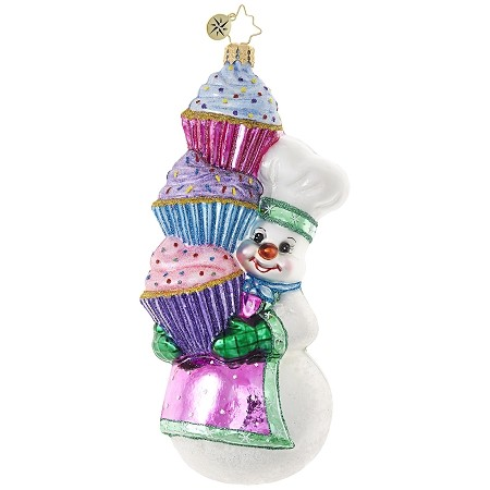 RADKO 1018934 HEY CUPCAKE! - BAKER SNOWMAN HOLDING 3 CUPCAKES ORNAMENT - NEW 2017 (17-13)