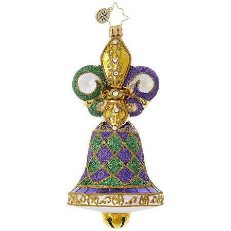 RADKO 1018950 BELL OF THE BALL - MARDI GRAS - FLEUR DE LIS BELL ORNAMENT - NEW 2017 (17-13)