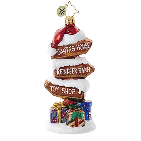 RADKO 1018951 POINTS OF INTEREST - NORTH POLE SIGNS ORNAMENT - NEW 2017 (17-13)