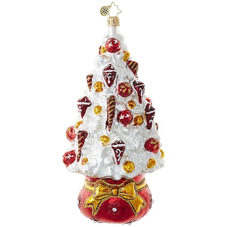 RADKO 1018952 TREE TRIM TREASURE - WHITE TREE WITH JEWELED BASE ORNAMENT - NEW 2017 (17-13)