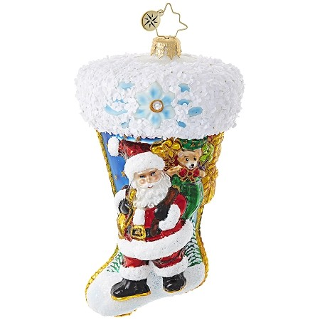 RADKO 1018953 SANTA SCENE STOCKING - JEWELED STOCKING WITH SANTA AND POINSETTIA ORNAMENT - NEW 2017 (17-13)