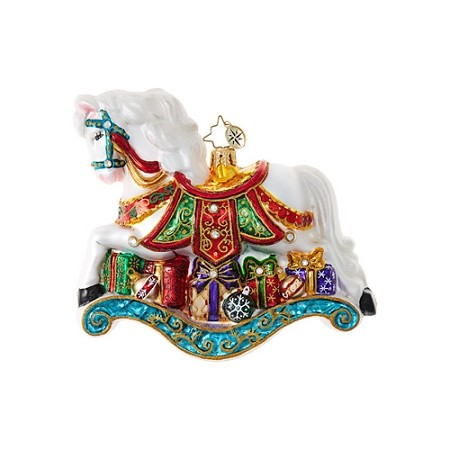 RADKO 1018954 LITTLE PONY PRIZE - LIMITED EDITION OF 1444 - JEWELED ROCKING HORSE WITH GIFTS ORNAMENT - NEW 2017 (17-2)
