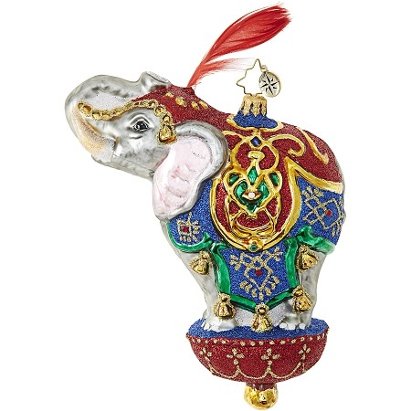 RADKO 1018958 ORNAMENTAL MAMMOTH - JEWELED ORIENTAL ELEPHANT WITH FEATHER ORNAMENT - NEW 2017 (17-13)