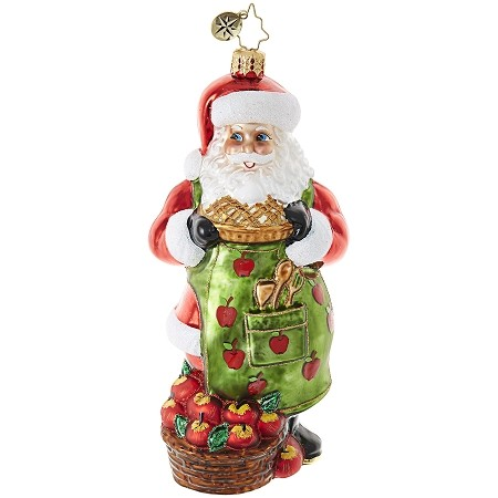 RADKO 1018960 APPLE OF SANTA'S EYE - BAKING SANTA WITH APPLE PIE ORNAMENT - NEW 2017 (17-14)