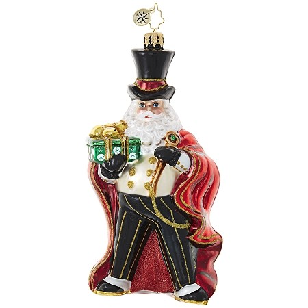 RADKO 1018963 SPIFFY SPATS - JEWELED SANTA  IN TUX WITH RED CAPE A TOP HAT ORNAMENT - NEW 2017 (17-14)