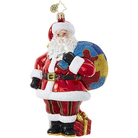 RADKO 1018968 A PIECE OF THE PUZZLE - AUTISM AWARENESS -  SANTA WITH PUZZLE BAG ORNAMENT - NEW 2017 (17-1)