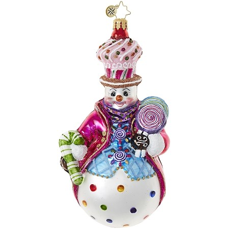 RADKO 1018984 COULDN'T BE SWEETER - CANDY SNOWMAN WITH CANDY CANE AND LOLLIPOP ORNAMENT - NEW 2017 (17-14)