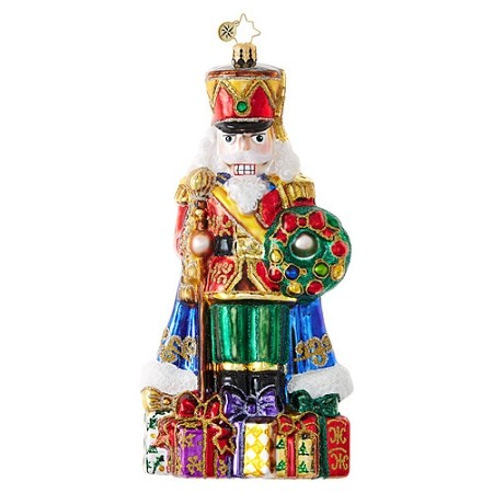 RADKO 1018987 DISTINGUISHED NUT - LIMITED EDITION OF 685 - JEWELED NUTCRACKER WITH STAFF WREATH AND GIFTS ORNAMENT - NEW 2017 (17-2)