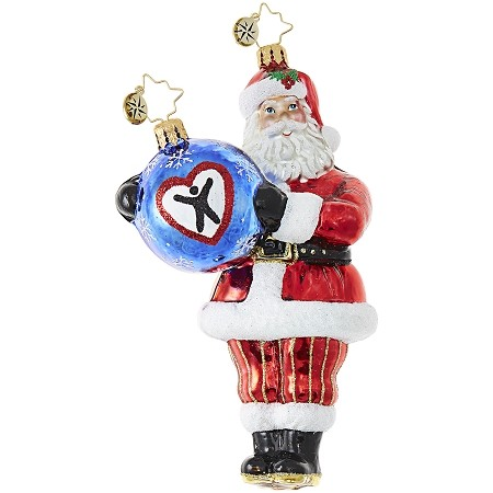 RADKO 1018990 CELEBRATE ADOPTION 2017 - DAVE THOMAS ADOPTING DARLING - DAVE THOMAS FOUNDATION ADOPTION AWARENESS - SANTA HOLDING AN ORNAMENT ORNAMENT - NEW 2017 (17-1)  LIMIT ONE IN ANY COMBINATION