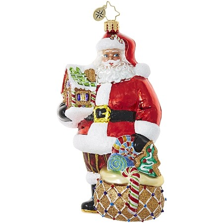 RADKO 1018991 GINGERBREAD JUBILEE - CANDY - SANTA WITH GINGERBREAD BAG AND HOUSE ORNAMENT - NEW 2017 (17-14)