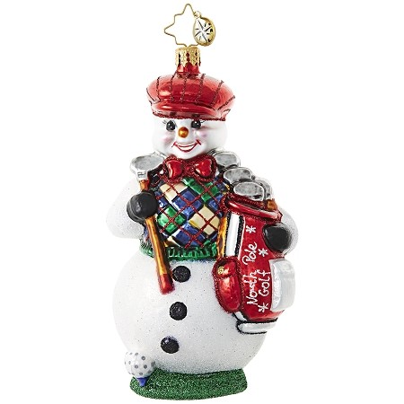 RADKO 1018998 SUBLIME BACK NINE - GOLF - GOLFING SNOWMAN ORNAMENT - NEW 2017 (17-15)
