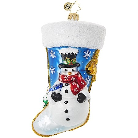 RADKO 1018999 STUCK ON STOCKINGS - STOCKING WITH SNOWMAN AND TREE ORNAMENT - NEW 2017 (17-15)