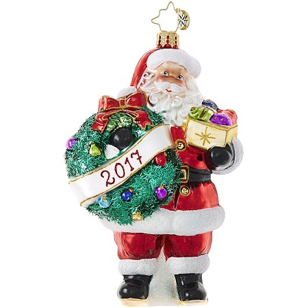 RADKO 1019001 EMBRACE THE YEAR, SANTA! - DATED 2017 - SANTA WITH WREATH ORNAMENT - NEW 2017 (17-2)