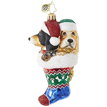 RADKO 1019011 STOP HOUNDING ME! - 2 DOGS WITH STOCKING HATS IN STOCKING ORNAMENT - NEW 2017 (17-15)