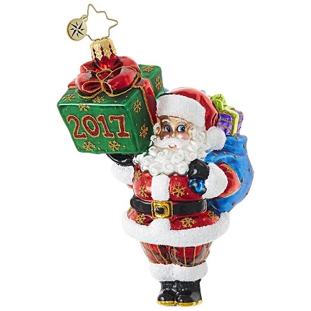 RADKO 1019015 - WRAPPING UP THE YEAR - DATED 2017 - SANTA WITH GIFT ORNAMENT - NEW 2017 (17-2)
