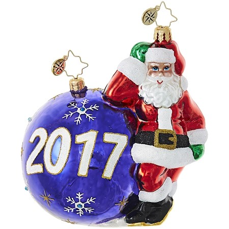 RADKO 1019016 - HAVING A BALL 2017 - DATED 2017 - SANTA WITH ORNAMENT ORNAMENT - NEW 2017 (17-2)