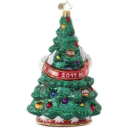 RADKO 1019019 TURTLE DOVE DYNASTY - DATED 2017 - TREE WITH 2 TURTLE DOVE  ORNAMENT - NEW 2017 (17-2)